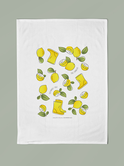 Tea Towel Lemon Zest Flat