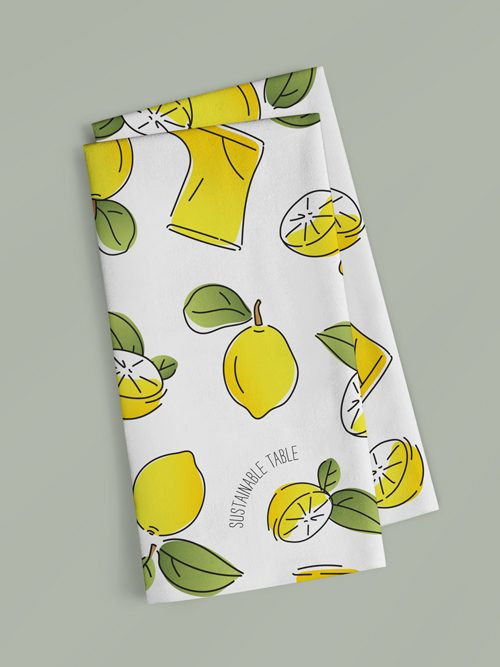 Tea Towel Lemon Zest Folded