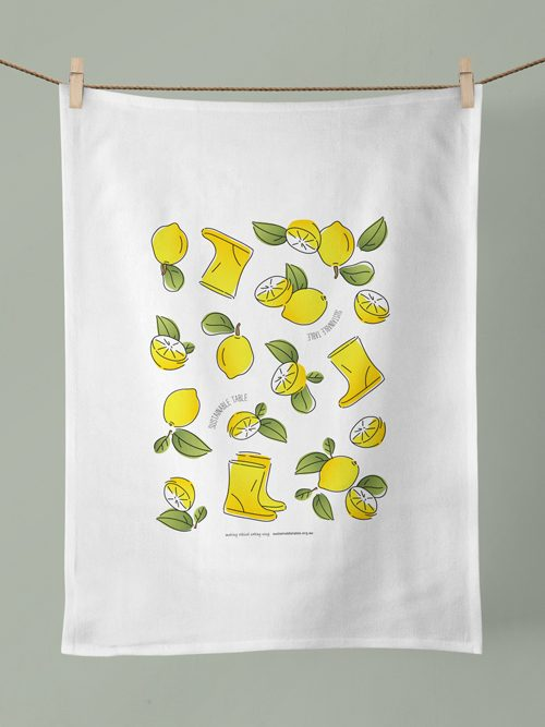 Tea Towel Lemon Zest Hanging